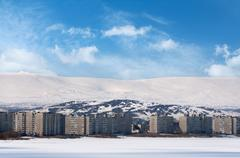 city in harsh winter climate - stock photo