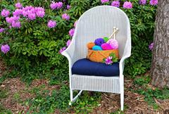Yarn basket on rocker Stock Photos