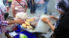 Street food vendor next to Taksim square Stock Footage