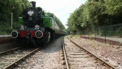 Vintage British Steam Train Moving Towards Camera Stock Footage