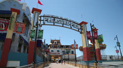 galveston island historic pleasure pier on sunny day - stock footage