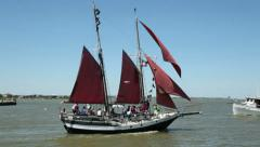 Gaff rigged schooner, at kemah boardwalk, texas Stock Footage