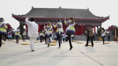 Miss tourism learn Tai Chi in temple Stock Footage