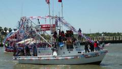 Shrimp boats, blessing of the fleet festival at Kemah Stock Footage