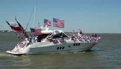 Boat sails past during the blessing of the fleet festival Stock Footage