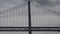 Detail of Oakland Bay Bridge by day, San Francisco Port, California, USA Stock Footage