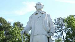 Tilt upwards of statue of sam houston in huntsville Stock Footage