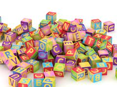 ABC cube pile - stock illustration