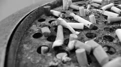 Black and White Ashtray - stock footage