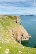 Stock Photo of Lydstep Pembrokeshire Wales Caldey Island in distance