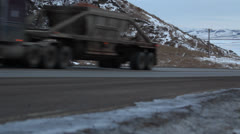 Semi Trucks Passing by on Freeway Stock Footage
