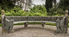 Ornate stone seat - stock photo