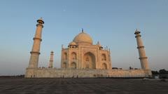 India Taj Mahal in golden light Stock Footage