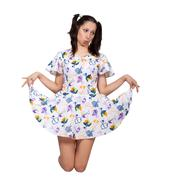 a girl with pigtails in colorful retro dress - stock photo