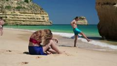 Relationship difficulties, couple on beautiful exotic beach HD Stock Footage