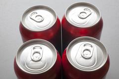 unopened aluminum cans - stock photo