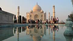 India Taj Mahal reflections Stock Footage