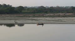 India a roat on the River Yamuna Stock Footage