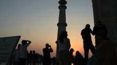 India Taj Mahal minaret at sunset Stock Footage