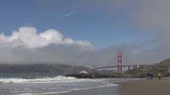 Golden Gate  bridge with fog by day, San Francisco, CA, California, USA Stock Footage