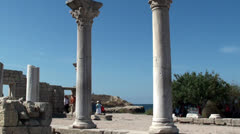 Tourists at the Basilica of Chersonesos Greek city, Sevastopol (Crimea) Stock Footage