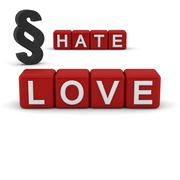 love and hate with the section sign - stock illustration