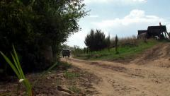Russian retro van at a farm dirt road. Stock Footage