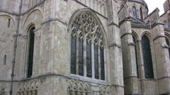Canterbury cathedral side view with stained glass windows Stock Footage
