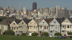 Beautiful Alamo Square in San Francisco by day, CA, California, USA Stock Footage