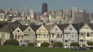 Stock Video Footage of Beautiful Alamo Square in San Francisco by day, CA, California, USA