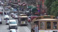 Stock Video Footage of Busy traffic street central city San Francisco day CA California USA cable car