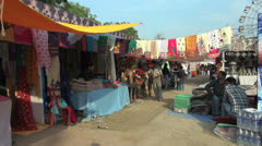 Stock Video Footage of Agra craft fair colorful scene