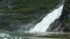Glacial Nugget Falls Mendenhall Glacier Juneau Alaska HD 6978 Stock Footage