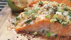 Cedar wood-grilled salmon Stock Footage