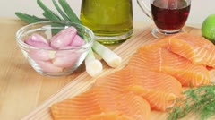Salmon fillets and ingredients for marinade Stock Footage