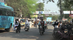 Agra India street with many people  Stock Footage