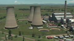 An aerial of discontinued cooling towers Stock Footage