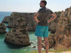 Young man admire beautiful exotic view NTSC - stock footage