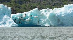 Kayak explore iceberg Mendenhall Glacier Juneau Alaska HD 7055 - stock footage