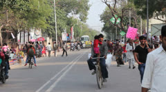 Stock Video Footage of Agra people in street by craft fair