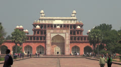 Akbar's tomb with people sightseeing Stock Footage