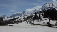Tramway view to Mont Blanc top Stock Footage
