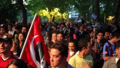 Protesters call for resignation of PM - stock footage