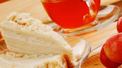 tea and cream cake - stock footage