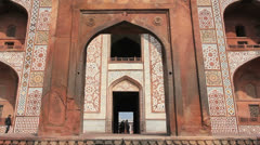 Agra Akbar's Tomb gate in India Stock Footage