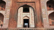Stock Video Footage of Agra Akbar's Tomb gate c