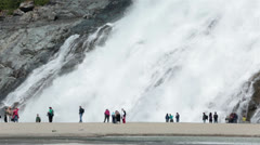 Nugget Falls Juneau Alaska Mendenhall Glacier HD 7001 Stock Footage
