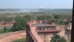 India Zooms to view of Taj Mahal from Red Fort Stock Footage