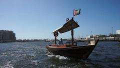 Abra boat taxi at the Dubai Creek Stock Footage