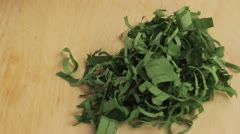 Ramson leaves being chopped Stock Footage